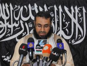 Mohamed Al-Zehawi, leader of Libyan jihadist group Ansar Asharia speaks to the press