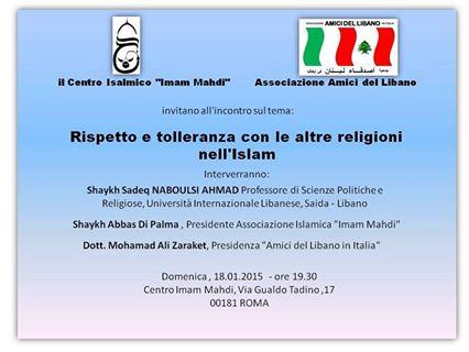 Rispetto e tolleranza con le altre religioni nell'Islam (Roma, 18 gen. 2015)