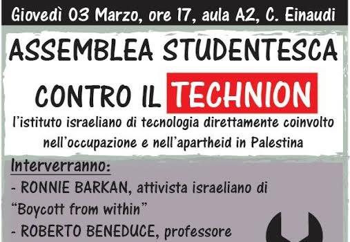 Assemblea studentesca contro il Technion (Torino, 3 mar. 2016)
